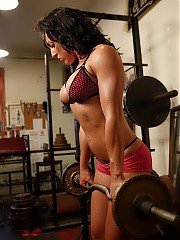 Real body building women in sexy scenes showing off all of their hot muscles