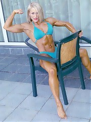 Jo Stewart hits the shots in her green posing bikini, featuring evenly distributed muscle size, shapes and definition