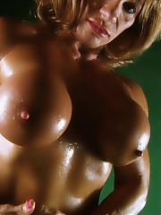 Kathy Connors flexes her huge juicy tits on cam
