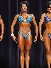 In addition to the 'open' events at the major contests, 'Masters' divisions are also held, featuring women age 35+, and in some cases, 45+. For the 2009 N. Americans, the division was 35+, and Silvana Salvati took the overall honors. Others in the top 4 include LaVonda Ezella, Cheryl Brown and Mikaila Soto. WPW photographer John Nafpliotis took the photos of the women posing quarter-turns in their bikinis and heels.